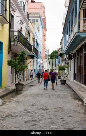 Quaint Side Street near Plaza Vieja in Havana - Cuba - Stock Photo