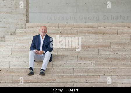 Schweinfurt, Germany. 08th Sep, 2015. Wolf Eiermann, new director of the Georg Schaefer Museum, poses in front of - Stock Photo