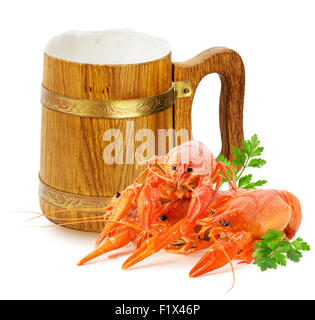 wooden mug with beer and red lobsters isolated on a white background. - Stock Photo