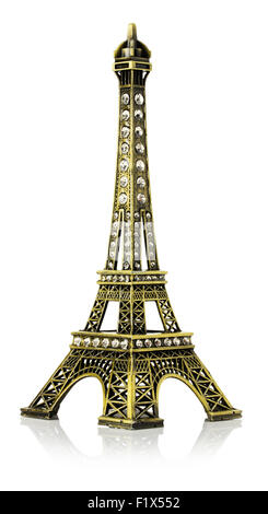 Miniature of the Eiffel Tower isolated on the white background. - Stock Photo