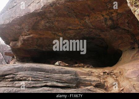 Cave shelter at Bhimbetka, Raisen, Madhya Pradesh, India. UNESCO's World Heritage Site List in 2003 - Stock Photo