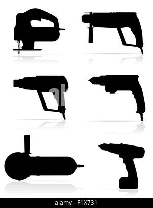electric tools black silhouette set icons vector illustration isolated on white background - Stock Photo