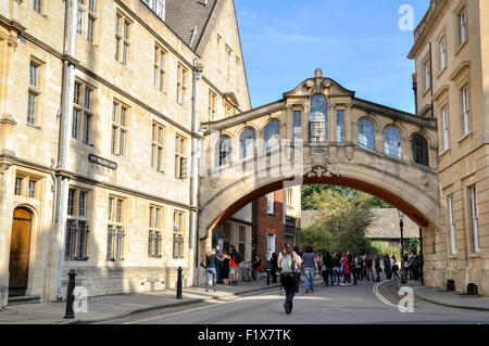 The Hertford Bridge (Bridge of Sighs) in Oxford, United Kingdom - Stock Photo