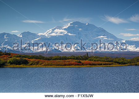 Alaska : Denali (also known as Mount McKinley) seen from Reflection Pond in Denali national Park - Stock Photo