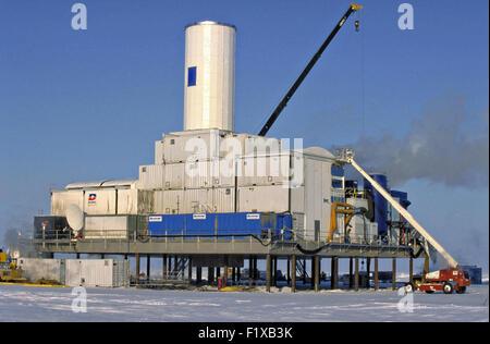 An Arctic Drilling Platform developed by Anadarko Petroleum Corporation on the North Slope near Deadhorse, Alaska. - Stock Photo