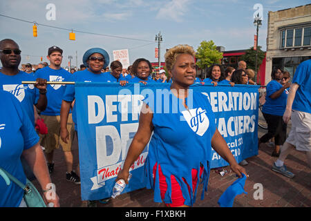 Detroit, Michigan - Members of the American Federation of Teachers participate in the Labor Day parade. - Stock Photo