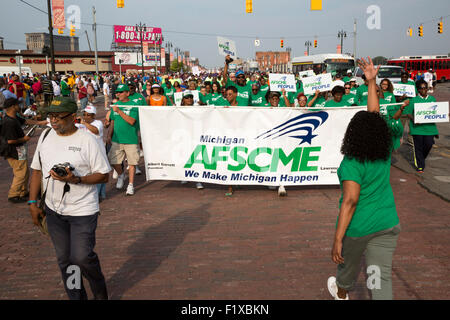 Detroit, Michigan - Members of the American Federation of State, County and Municipal Employees in the Labor Day - Stock Photo