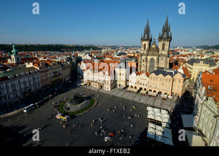 Aerial view of the Old Town square and the Church of Our Lady Before Tyn, Prague, Czech Republic, Europe - Stock Photo
