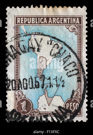 Stamp printed in Argentina shows map of Argentina and Antarctic territories, circa 1951. - Stock Photo