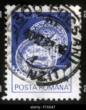 Stamp printed in the Romania, shows Ceramic plate, from Radauti, circa 1982 - Stock Photo