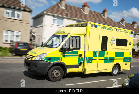 A South Central Ambulance in a residential area, Southampton Hampshire UK - Stock Photo