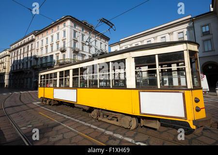 Vintage tram on the city street, Milano, Italy - Stock Photo