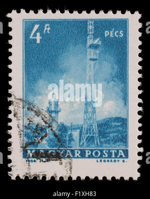 Stamp printed in Hungary shows Pecs TV Tower, with the same inscription, from series Transport and Telecommunication, - Stock Photo