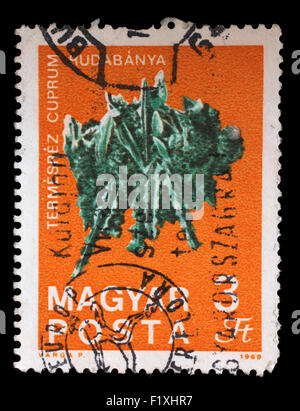 Stamp printed in Hungary shows Copper from Rudabanya from the series Fossils and Minerals, circa 1969. - Stock Photo