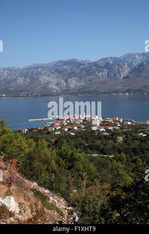 Vinjerac, a small coastal town on the Adriatic Sea in Croatia - Stock Photo