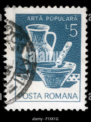 Stamp printed in Romania shows Folk Art, Plate jug, Varna, circa 1982. - Stock Photo