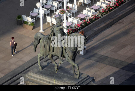 Statue of count Josip Jelacic on main square in Zagreb, Croatia on May 31, 2015 - Stock Photo