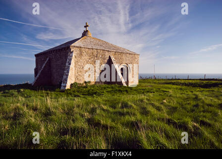 View of St Aldhelm's Chapel at St Aldhelm's Head, Isle of Purbeck near Worth Matravers on Dorset's Jurassic Coast, - Stock Photo