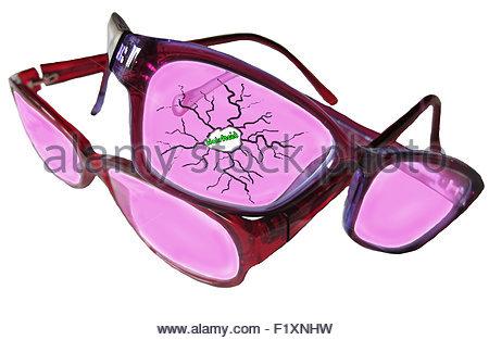 Rosarote Brillen - rose-coloured glasses - Stock Photo