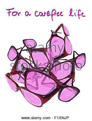 Rosarote Brillen - rose coloured glasses - Stock Photo