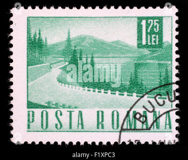 Stamp printed in Romania showing a Lakeside highway, circa 1967. - Stock Photo