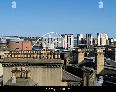 Millennium bridge and Baltic art gallery Gateshead  quays seen from the old chimneys of Newcastle - Stock Photo