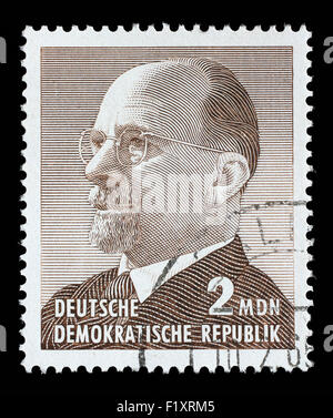 Stamp printed in Germany shows the leader of East Germany from 1950 to 1971 Walter Ulbricht, circa 1963. - Stock Photo