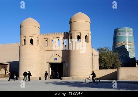 Uzbekistan, Khorezm, Khiva, Itchan Kala (inner town) listed as World Heritage by UNESCO, the West Gate of the walled - Stock Photo