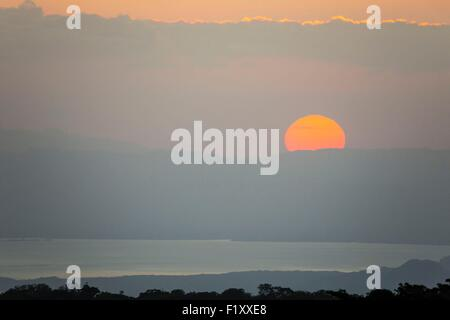 Costa Rica, Puntarenas province, Monteverde, sunset over the mountains - Stock Photo
