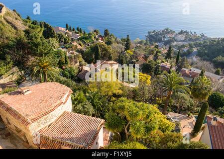 France, Alpes Maritimes, Nice, the hilltop village of Roquebrune Cap Martin - Stock Photo