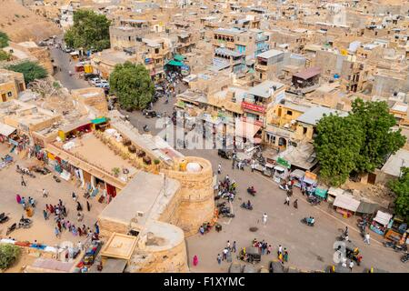 India, Rajasthan state, hill fort of Rajasthan listed as World Heritage by UNESCO, Jaisalmer, view from the Fort - Stock Photo