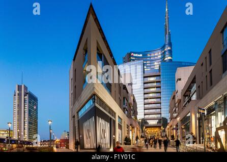 Italy, Lombardy, Milan, Porta Nuova Garibaldi district (2009-2015), access to the new business district at the bottom - Stock Photo