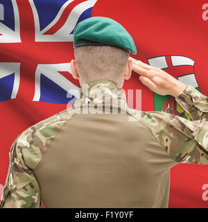 Soldier saluting to Canadial province flag series - Manitoba - Stock Photo