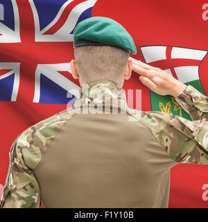 Soldier saluting to Canadial province flag series - Ontario - Stock Photo