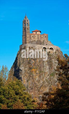 France, Haute Loire, Le Puy en Velay and Aiguilhe, Saint Michel d'Aiguilhe chapel - Stock Photo