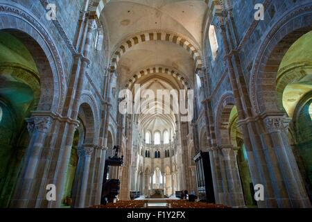 France, Yonne, Vezelay, Basilica of St Mary Magdalene listed as World Heritage by UNESCO - Stock Photo
