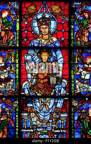 France, Eure et Loir, Chartres, the cathedral listed as World Heritage by UNESCO, Notre Dame de la Belle Verriere - Stock Photo