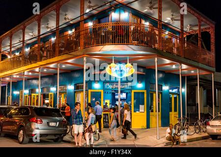 United States, Louisiana, New Orleans, French Quarter, night on Bourbon street, Dat Dog is the new trendy restaurant - Stock Photo