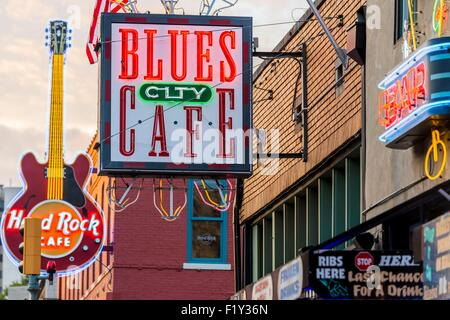 United States, Tennessee, Memphis, Beale Street - Stock Photo