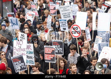 Up to 10,000 people march through central London against tuition fee rises and education funding cuts - Stock Photo