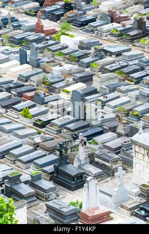 France, Paris, Pere Lachaise cemetery, graves around the crematorium at level of Rondeaux street (aerial view) - Stock Photo