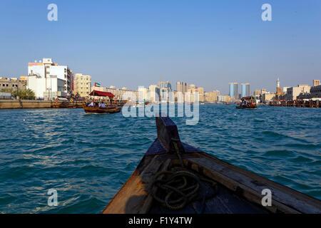 United Arab Emirates, Dubai, Bur Dubai, Abra (boat) on the Dubai Creek, the abras are used to cross the Dubai Creek - Stock Photo