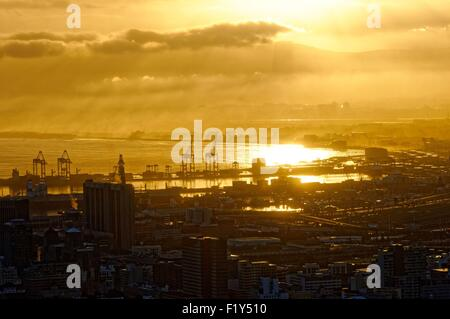 South Africa, Western Cape, Cape Town, sight since Signal Hill on the centre town and the port - Stock Photo