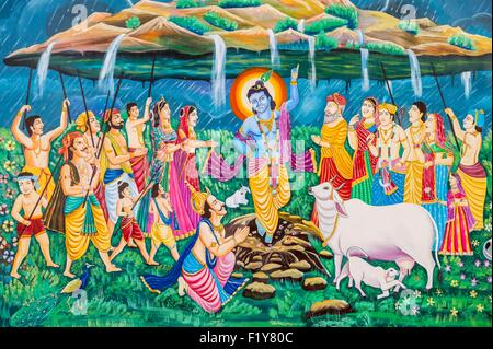 India, Rajasthan state, Jaisalmer, cattle farm, paintings representing Lord Krishna - Stock Photo