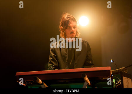 Glasgow, Scotland, UK. 8th September, 2015. Dominic Simper of Australian rock band Tame Impala performs live at - Stock Photo