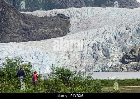 Alaska,Juneau,Mendenhall Glacier,Tourist,Lake - Stock Photo