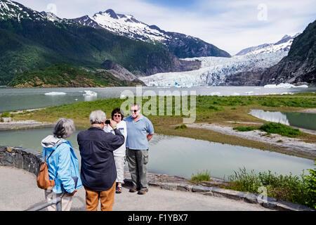 Alaska,Juneau,Tourist,Lake,Mendenhall Glacier - Stock Photo