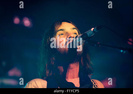 Glasgow, Scotland, UK. 8th September, 2015. Kevin Parker of Australian rock band Tame Impala performs live at The - Stock Photo