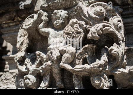 Ornate carved stone on the exterior of Iglesia de la Santisima Trinidad in Mexico City, Mexico. Iglesia de la Santisima - Stock Photo