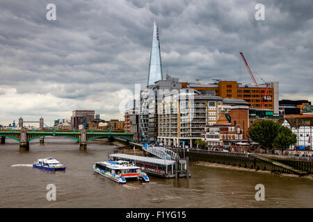 The Shard, The River Thames and Riverside Properties, London, England - Stock Photo